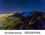table mountain at night with... | Shutterstock . vector #585089986