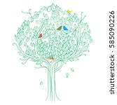 the tree with colorful bird... | Shutterstock .eps vector #585090226