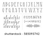 serif hand drawn thin font.... | Shutterstock .eps vector #585093742