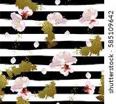 trendy seamless spring pattern... | Shutterstock . vector #585109642
