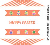 happy easter eggs icons set... | Shutterstock . vector #585118528