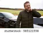 man suffering with whiplash... | Shutterstock . vector #585121558
