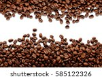 coffee beans. isolated on white ... | Shutterstock . vector #585122326