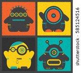 set of four retro postage s... | Shutterstock .eps vector #585124516