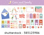 collection of valentines day... | Shutterstock .eps vector #585125986
