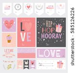 collection of valentines day... | Shutterstock .eps vector #585126226
