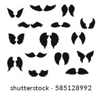 set of angel wings silhouettes. ... | Shutterstock .eps vector #585128992