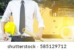 engineer yellow helmet for the... | Shutterstock . vector #585129712