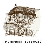 small house or cottage with a... | Shutterstock . vector #585139252