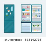 open and close fridge.... | Shutterstock .eps vector #585142795