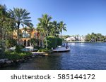 canals and waterfront houses... | Shutterstock . vector #585144172