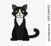 black and white cat. cartoon... | Shutterstock .eps vector #585144952