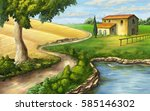 rural landscape with ranch and... | Shutterstock . vector #585146302