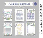easter journal card design... | Shutterstock .eps vector #585153586