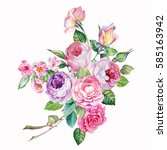 watercolor painted.pink and...   Shutterstock . vector #585163942