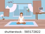 a girl sits in a room and... | Shutterstock .eps vector #585172822