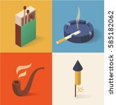 fire isometric icon set  3d ... | Shutterstock .eps vector #585182062