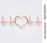 heart pulsating rhythm graph... | Shutterstock . vector #585182092