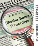 Stock photo illustration of jobs of media sales executive in newspaper with loupe media sales executive 585184636
