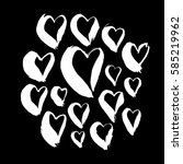 set of white hand drawn hearts... | Shutterstock .eps vector #585219962