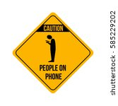 funny warning caution yellow... | Shutterstock .eps vector #585229202