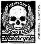 vintage biker skull emblem tee... | Shutterstock .eps vector #585245192