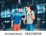two friends traveling together. ... | Shutterstock . vector #585258038