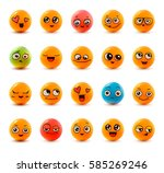 emotions. set of smiley face... | Shutterstock .eps vector #585269246