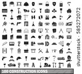 100 construction icons set in... | Shutterstock .eps vector #585272072
