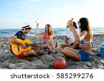group of young people man and... | Shutterstock . vector #585299276