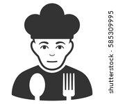 sad cook glyph icon. flat gray... | Shutterstock . vector #585309995