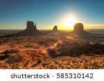 monument valley at sunrise ... | Shutterstock . vector #585310142