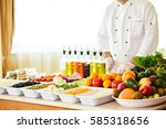 salad bar with vegetables in... | Shutterstock . vector #585318656