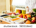 salad bar with vegetables in...