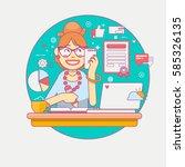 secretary  or a clerk working... | Shutterstock .eps vector #585326135