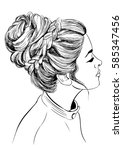 woman with braided bun... | Shutterstock .eps vector #585347456