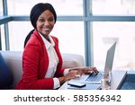 black female businesswoman... | Shutterstock . vector #585356342