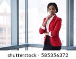 confident businesswoman looking ... | Shutterstock . vector #585356372