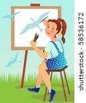 girl draws a blue bird | Shutterstock .eps vector #58536172