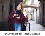 young  happy woman looking... | Shutterstock . vector #585363836