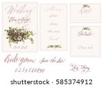 wedding set with drawings and... | Shutterstock .eps vector #585374912