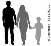 silhouette of happy family on a ... | Shutterstock .eps vector #585376772