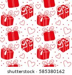 seamless pattern with gifts... | Shutterstock .eps vector #585380162