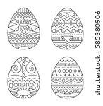 easter eggs with tribal... | Shutterstock .eps vector #585380906