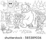 veterinarian treats animals in... | Shutterstock .eps vector #585389036
