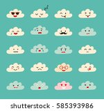 emoji clouds vector. cute smily ... | Shutterstock .eps vector #585393986