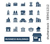 business buildings icons  | Shutterstock .eps vector #585411212