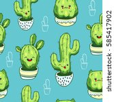seamless pattern with cute... | Shutterstock .eps vector #585417902