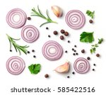 red onion and spices isolated... | Shutterstock . vector #585422516