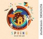 spring paper illustration | Shutterstock .eps vector #585424256